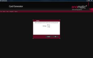 Enomatic Wine Dispenser Card Generator software
