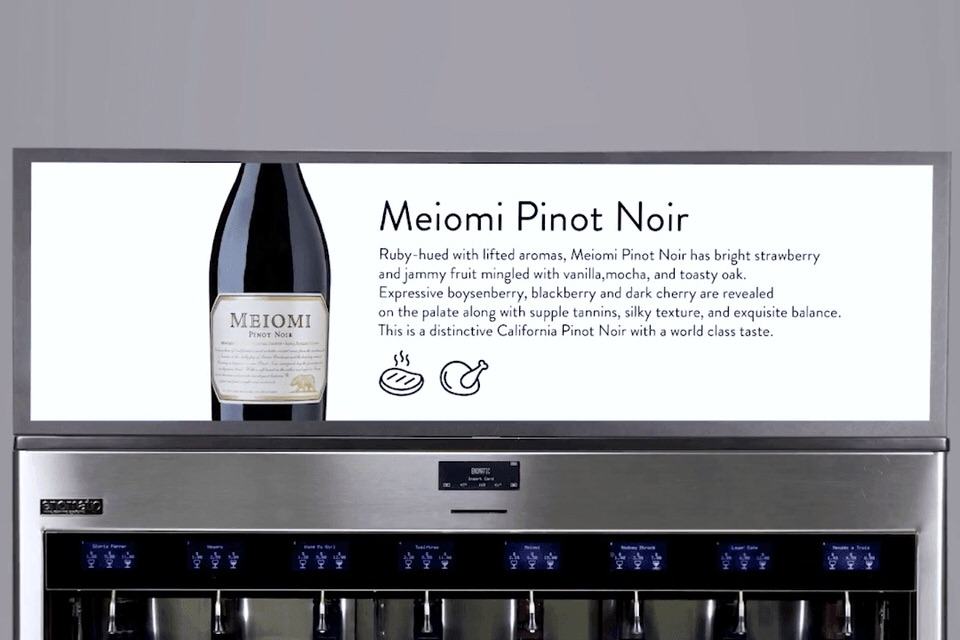 Enomatic wine dispenser digital display